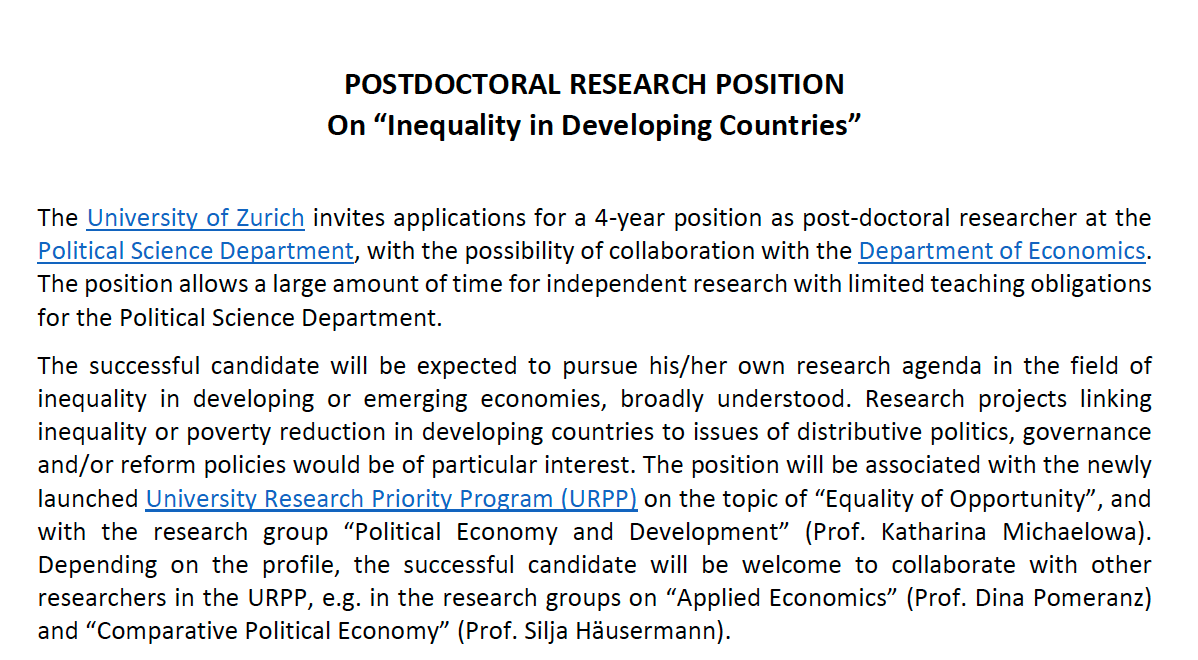 ❗️4-year Postdoc position at @IPZ_ch ❗️ The substantive focus is on Inequality in Developing Countries. We are looking for applicants with a background in CPE, IPE, IR, CP or Development Economics. Excellent working conditions, friendly Department. ipz.uzh.ch/de/institut/st…