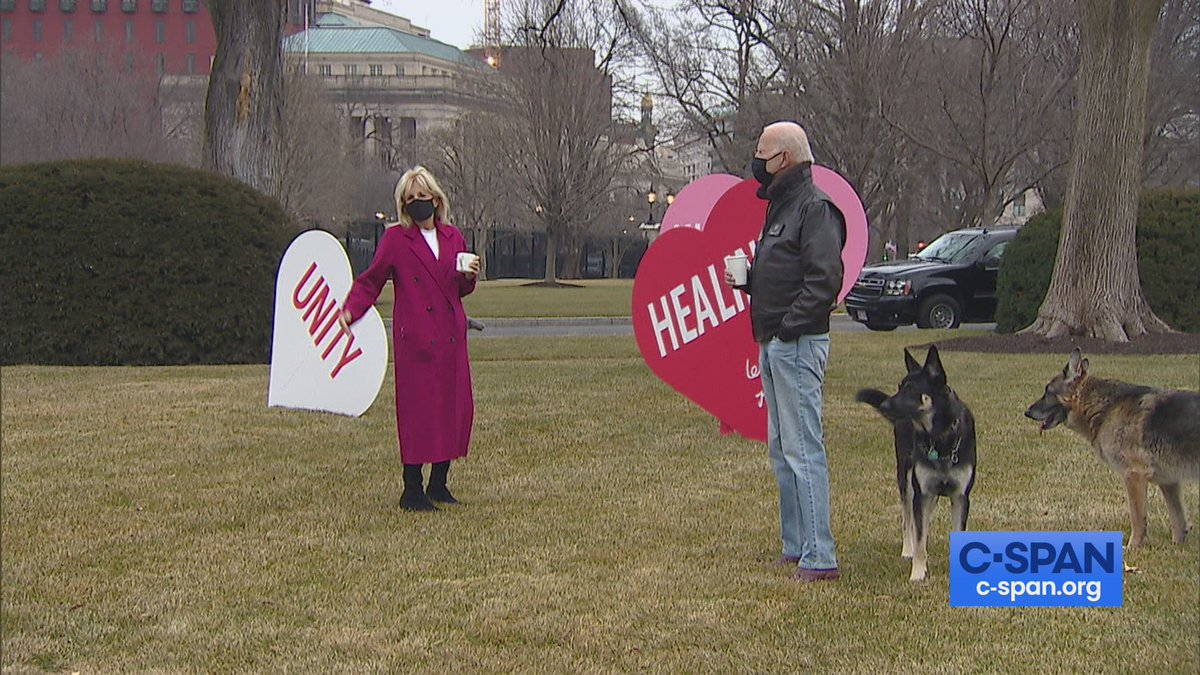 """First Lady Jill Biden put a massive Valentine's display on the North Lawn.  """"I just wanted some joy. With the pandemic, just everybody's feeling a little down. So, it's just a little joy. A little hope. That's all."""""""