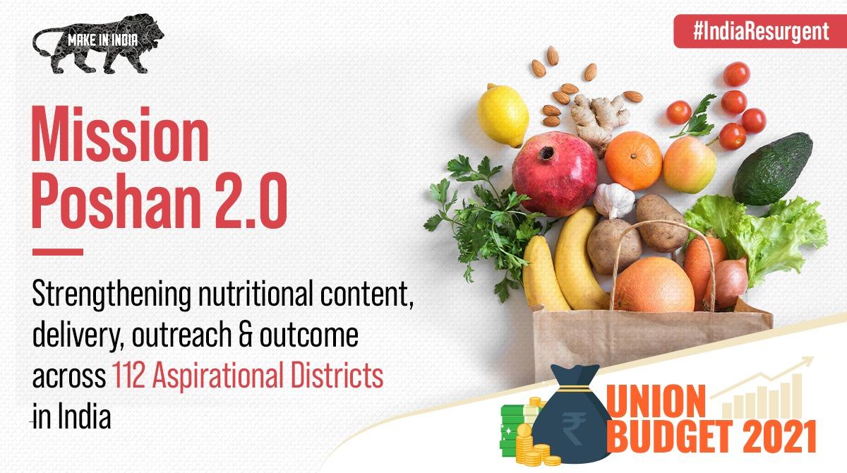 #IndiaResurgent Mission Poshan 2.0 - announced in #Budget2021 aims to improve nutritional outcomes across #NewIndia! #TheLionRoarsAgain #BudgetForGrowth @PiyushGoyal @DIPPGOI @CimGOI @FinMinIndia