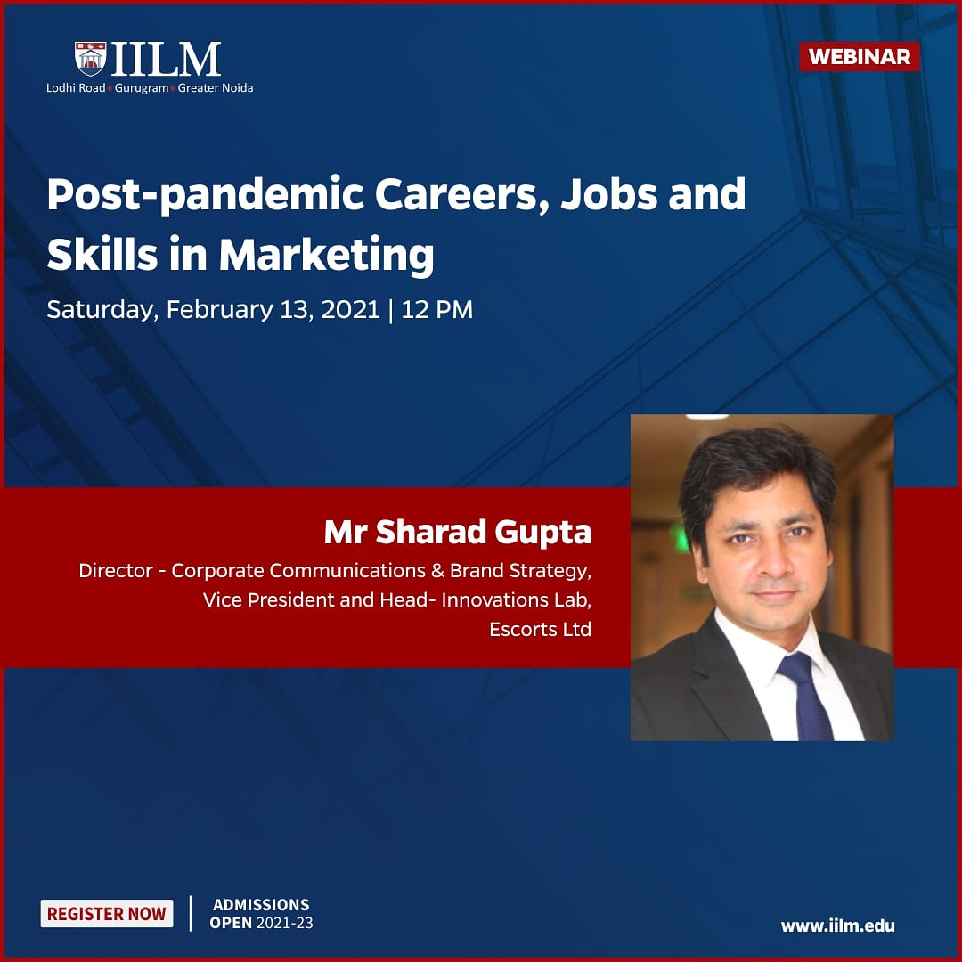 Marketing professionals join us tomorrow to take a peek into the future of work   @IILM @Sharadkguptaa