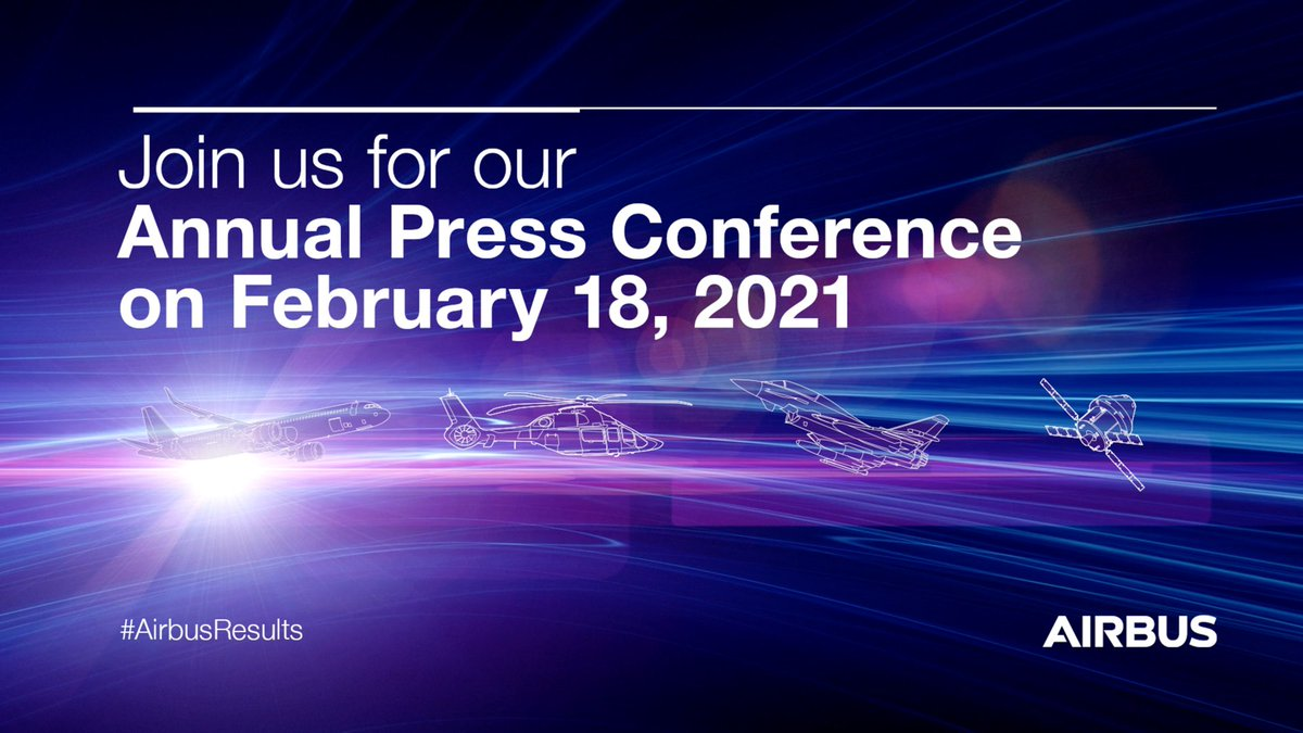 🎥 Tune in on Feb. 18th at 0930 CET to attend our Annual Press Conference on the #AirbusResults 2020. The event will be hosted by @GuillaumeFaury, Dominik Asam and @JulieKitcher. $AIR 🔗 Link to livestream: https://t.co/F3nWSkAxt7 🔗 Resources: https://t.co/WvwfawiCrQ https://t.co/ABliehlz7Y
