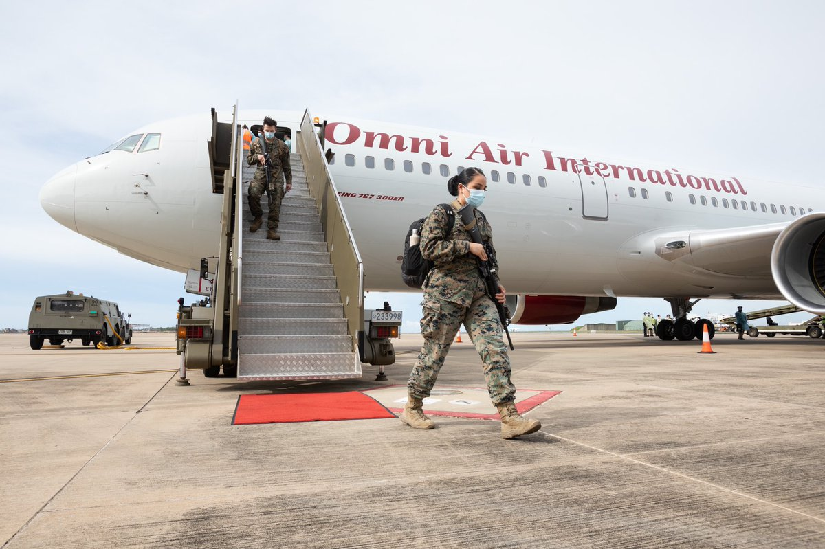 Touch down! @USMC personnel from the tenth Marine Rotational Force - Darwin (MRF-D) have landed in the NT. Personnel will quarantine at a defence facility & undergo #COVID19 testing before commencing training with #YourADF. Around 2,200 MRF-D will arrive in Darwin by June. 🇦🇺🇺🇸