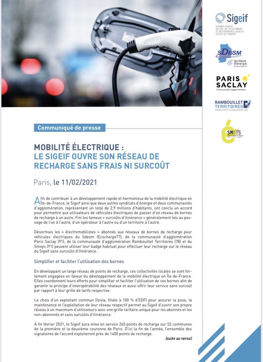 Mobilité #electrique en #IDF : le Sigeif ouvre son réseau de recharge sans frais ni surcoût pour les utilisateurs de #voitures électriques avec @ecocharge77 @agglopariSaclay @Agglo_RT78 et Smoys https://t.co/lb46uLtTvD