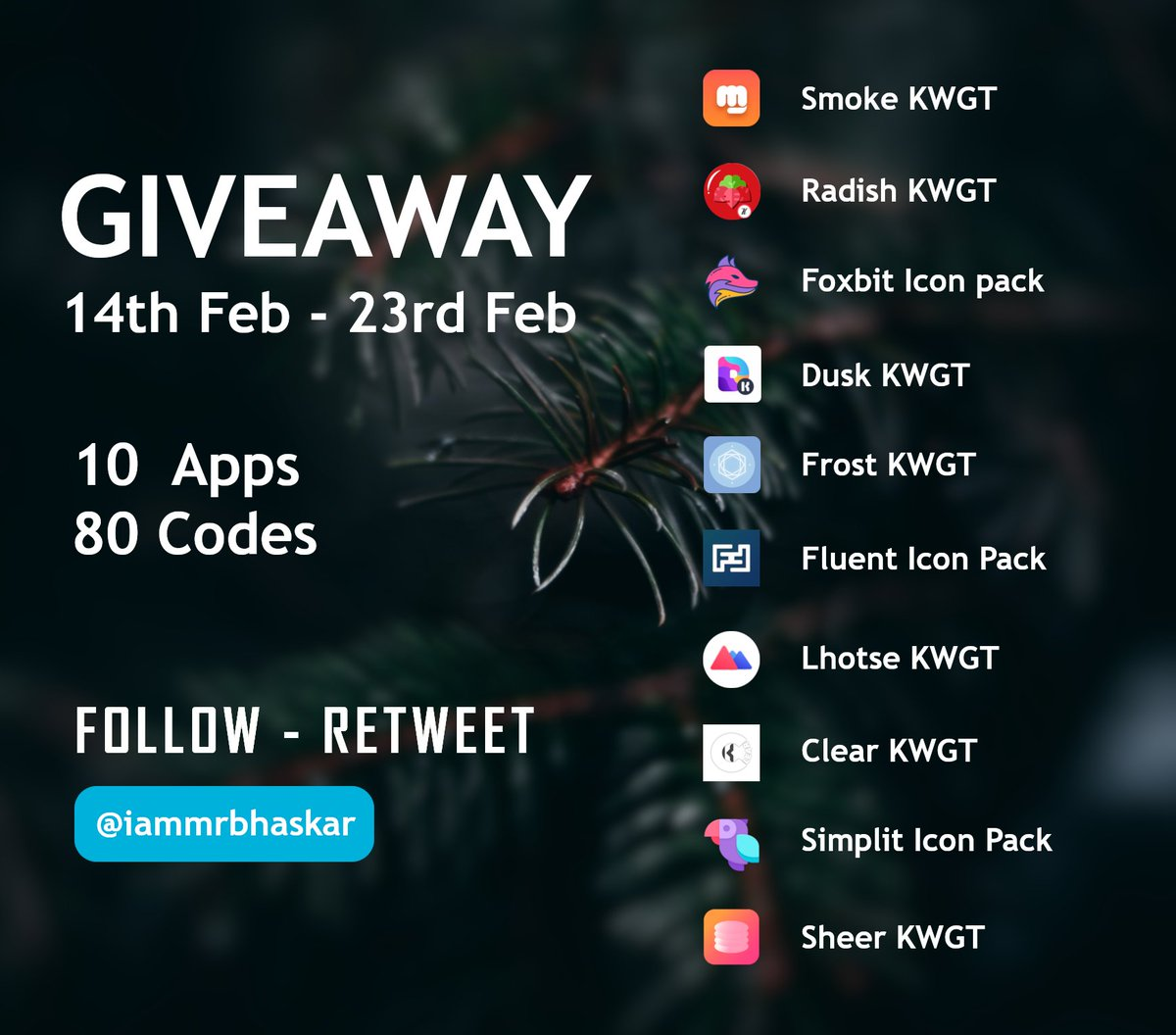 Hello everyone 👋👋👋 Hope all are fine   Valentine's day is coming ❤️❤️🎉🎉  So , I planned a valentine's spacial Giveaway with some amazing devs 😊😊😊  Thanks to all the Devs 🙏😀  Starts from 14th February  Please like ❤️ and Retweet 🔄