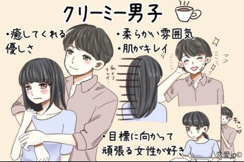 Special mention for the «Creamy boy» who's healing like a cup of hot coffee and a fluffy shortcake. He's a good listener and a soft, reliable support   https://japantoday.com/category/features/lifestyle/from-carnivores-to-herbivores-how-men-are-defined-in-japan