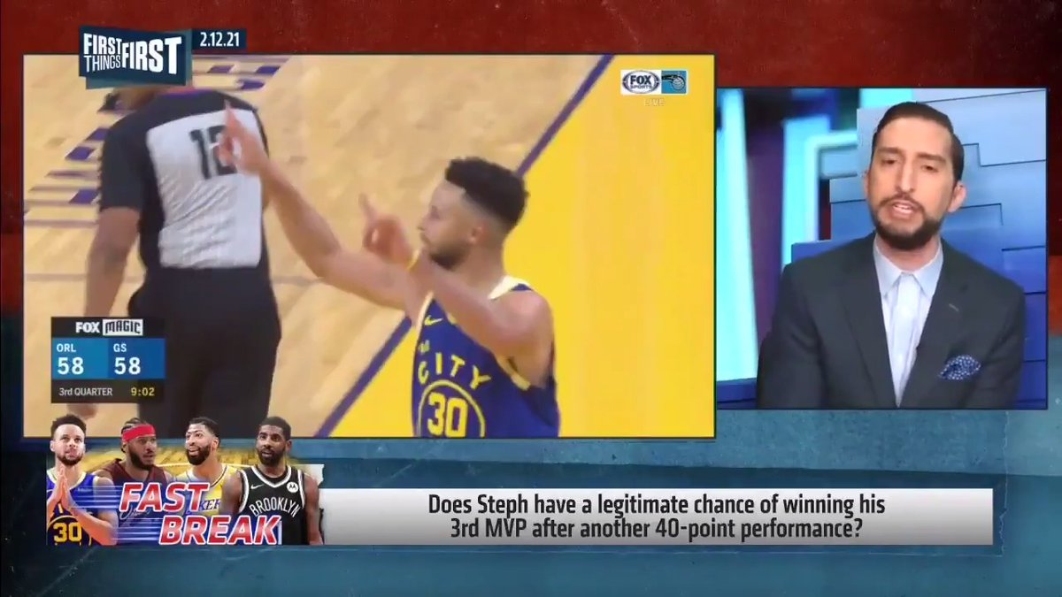 "Does Steph have a legitimate chance of winning his 3rd MVP?  ""This is an outrageous question. And this is not shade to Steph. You can't be a .500 team and be an MVP candidate. This is not a discussion."" — @getnickwright"