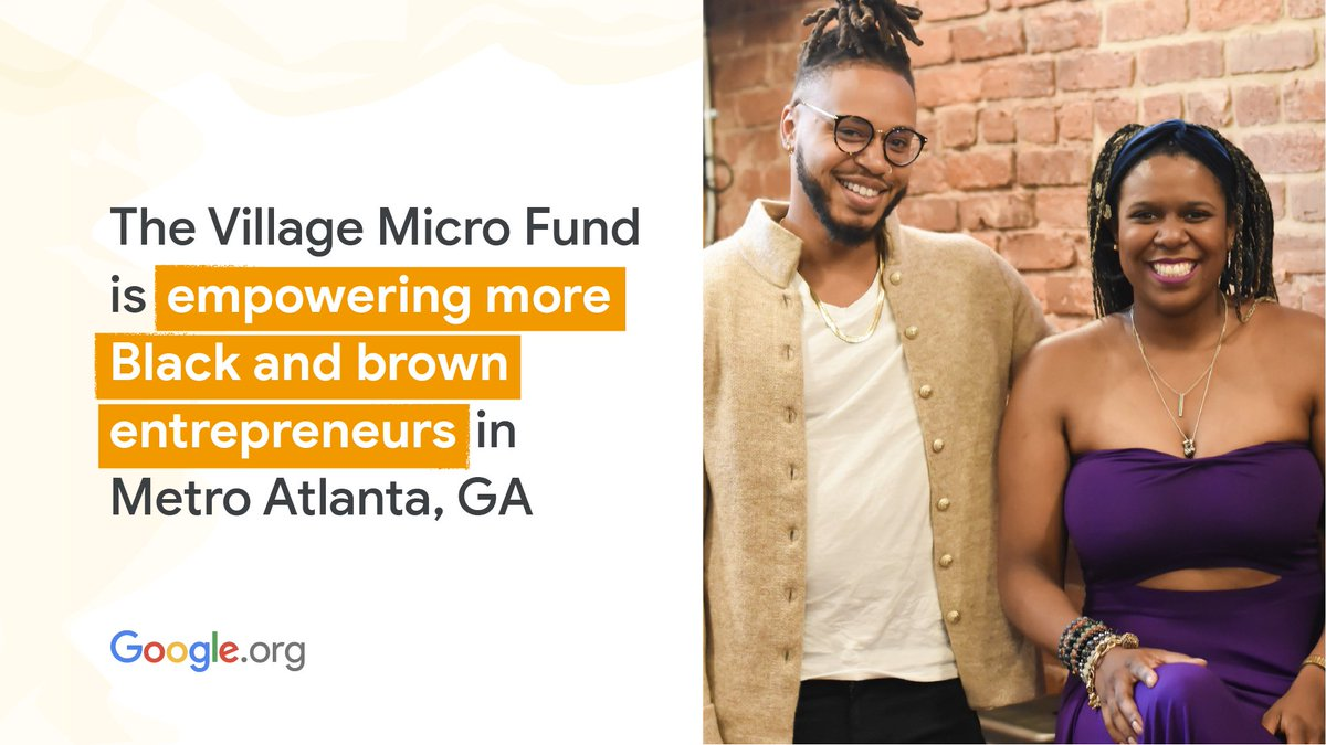 Harriett Williams & Donte Miller co-founded @TheVMF, a social impact fund dedicated to empowering entrepreneurs in Atlanta, GA. With support from a $5M #GoogleOrg grant to @commonfutureco, VMF is filling access gaps for underserved SMBs:  #BHM