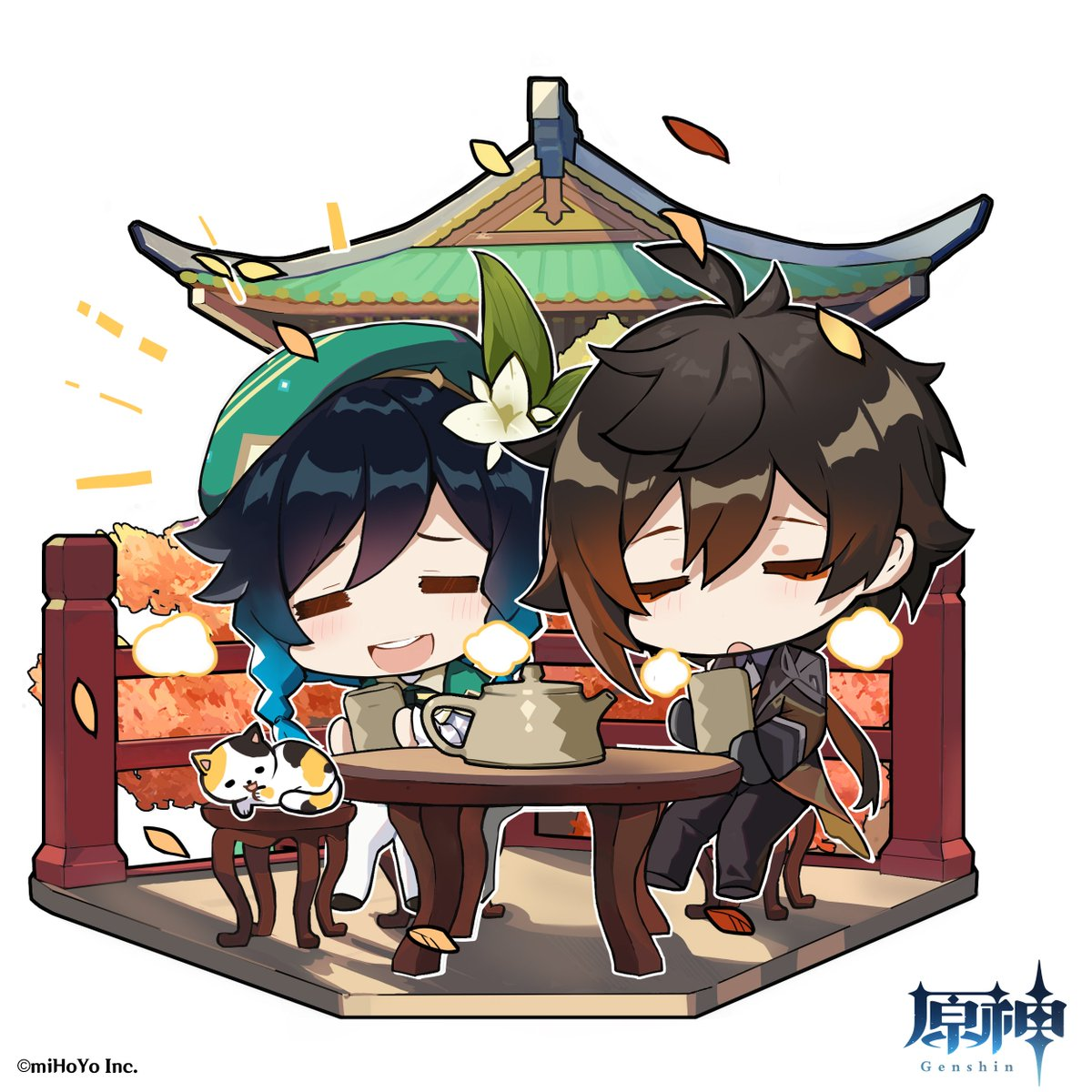 【海灯祭ミニイラスト】 「長いこと忙しい日々が続いてきた。この余暇は貴重なものだろう?」 「えへっ!」  #原神 #Genshin