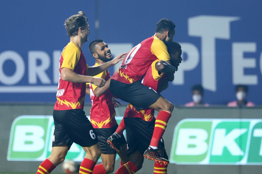 East Bengal players celebrate after taking the lead against Hyderabad FC