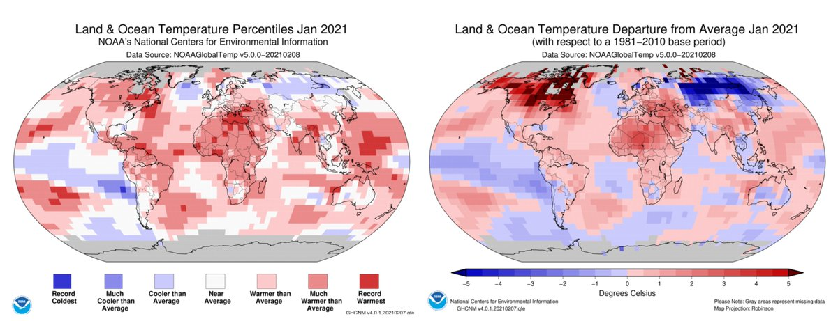 (1 of 5) Just in: Earth just had its 7th-warmest #January on record. Polar sea ice coverage was below-average for the month, per @NOAANCEIclimate bit.ly/3acm7P1 #StateOfClimate