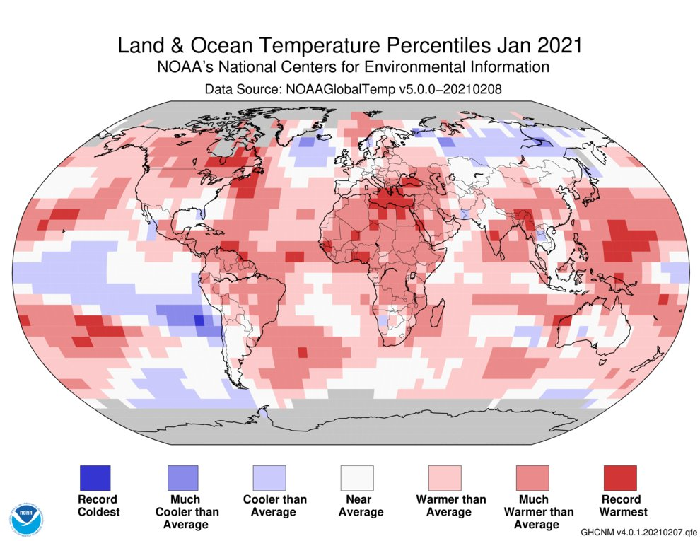 (2 of 5) #January 2021 global land & ocean temp was 1.44°F (0.80°C) above average -- making it the 7th-warmest Jan. on record for the planet: @NOAANCEIclimate bit.ly/3acm7P1 #StateOfClimate