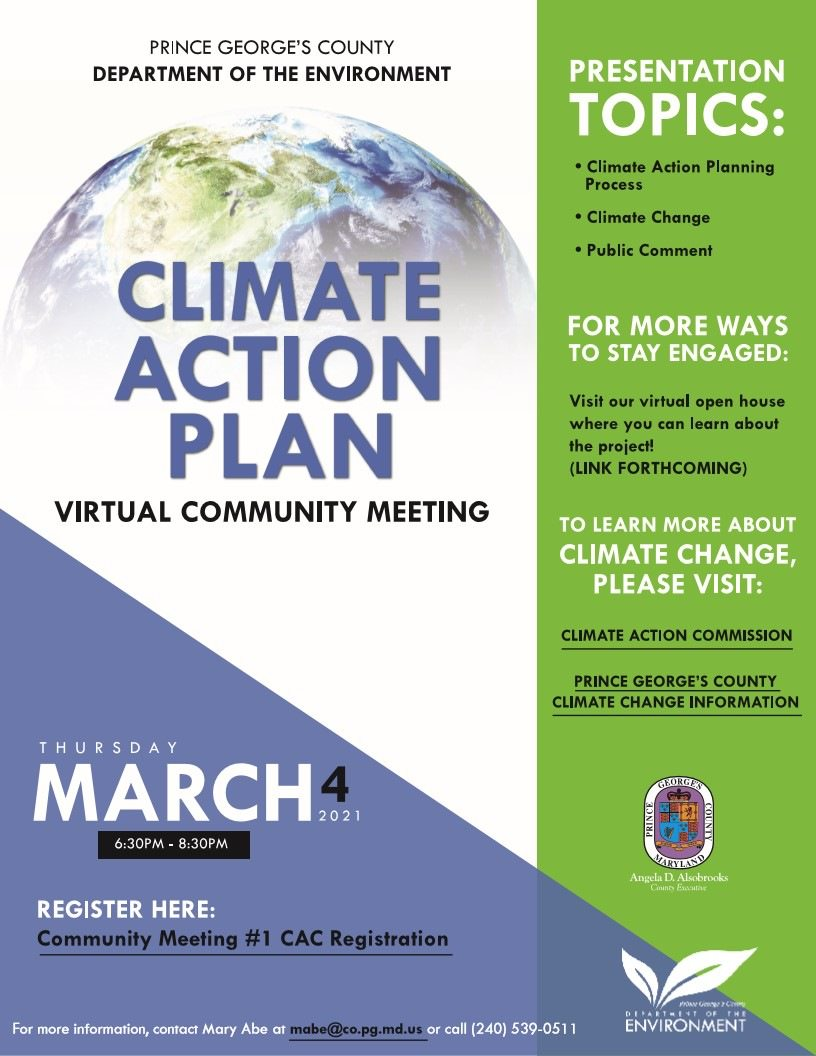 Register today for this upcoming Virtual Community Meeting and share what you think should guide the drafting of Prince George's County Climate Action Plan. Register today at https://t.co/jmx67Yb7RD https://t.co/cLv75adYLz