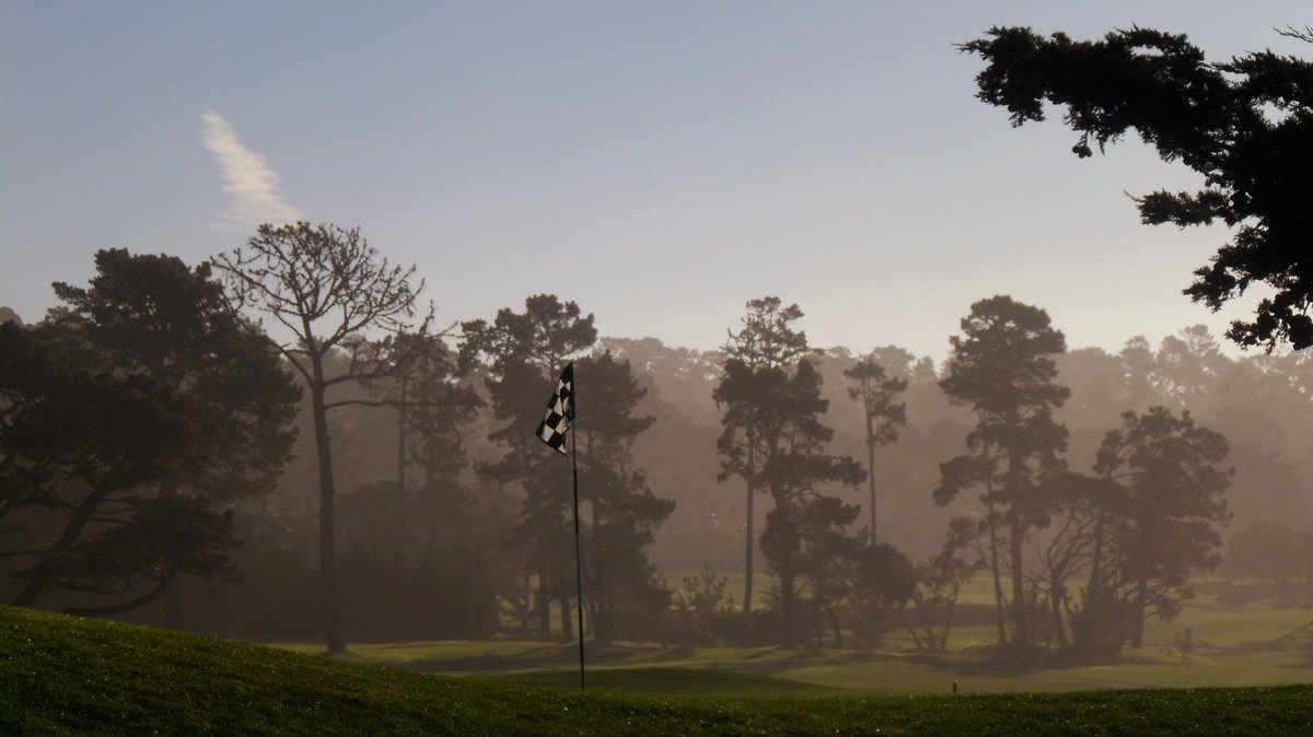 Pin between the Pines! An early morning view behind the 13th Green at Pebble Beach from a few years back. @attproam @CityofMonterey #PracticeDay #February2017 #Pines #ThePeninsula