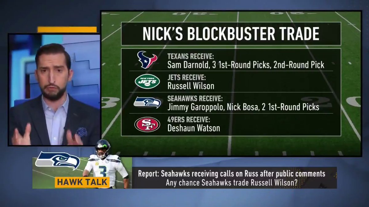 Russell Wilson to the Jets. Deshaun Watson to the 49ers. The perfect fake trade does exist.   Full explanation from @GetNickWright ⤵️