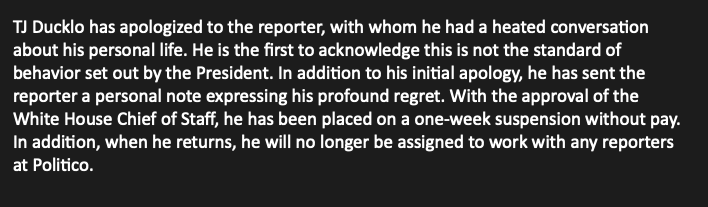TJ Ducklo has been placed on a one-week suspension without pay, @PressSec says.