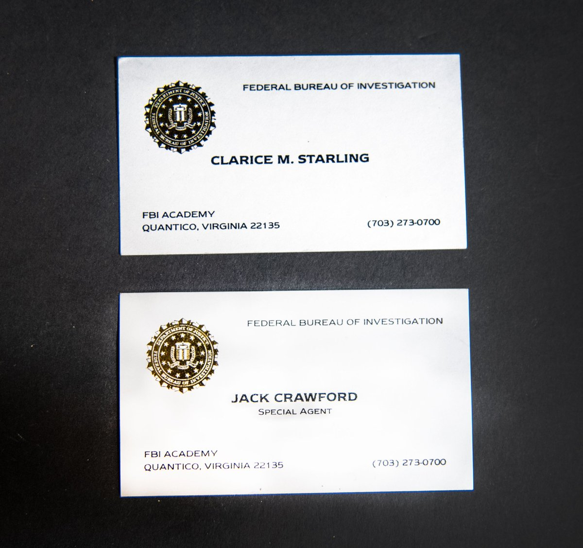 The #FBI is marking the 30th anniversary of 1991s hit film, Silence of the Lambs with its February #ArtifactoftheMonth. It features a set of business cards-one for Clarice Starling & one for Jack Crawford. They were one of the many small props to bring authenticity to the set.