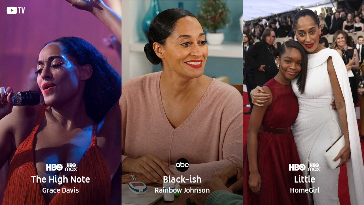 Replying to @YouTubeTV: And now the iconic… @TraceeEllisRoss.   She brings us to our feet as @TheHighNoteFilm's Grace Davis, exudes hilarity as Rainbow Johnson on @blackishabc, and shines her light as the voice of HomeGirl in #Little. 💜 #CreateBlackHistory