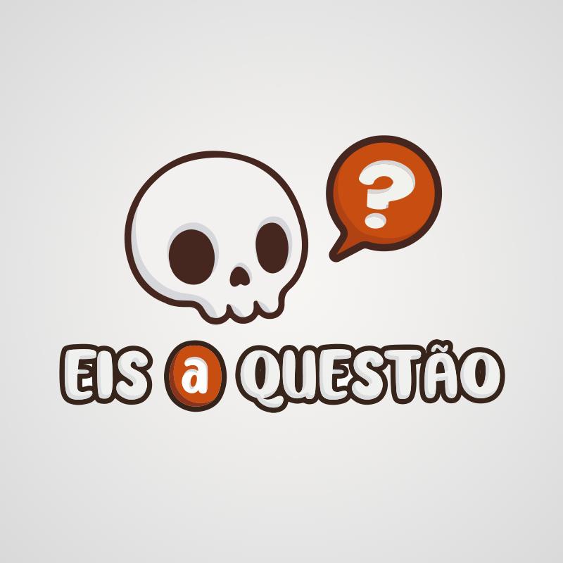 """Logotipo do Eis a questão, uma caveira em cartoon com um balão laranja com uma interrogação dentro.abaixo, """"Eis a questão"""""""