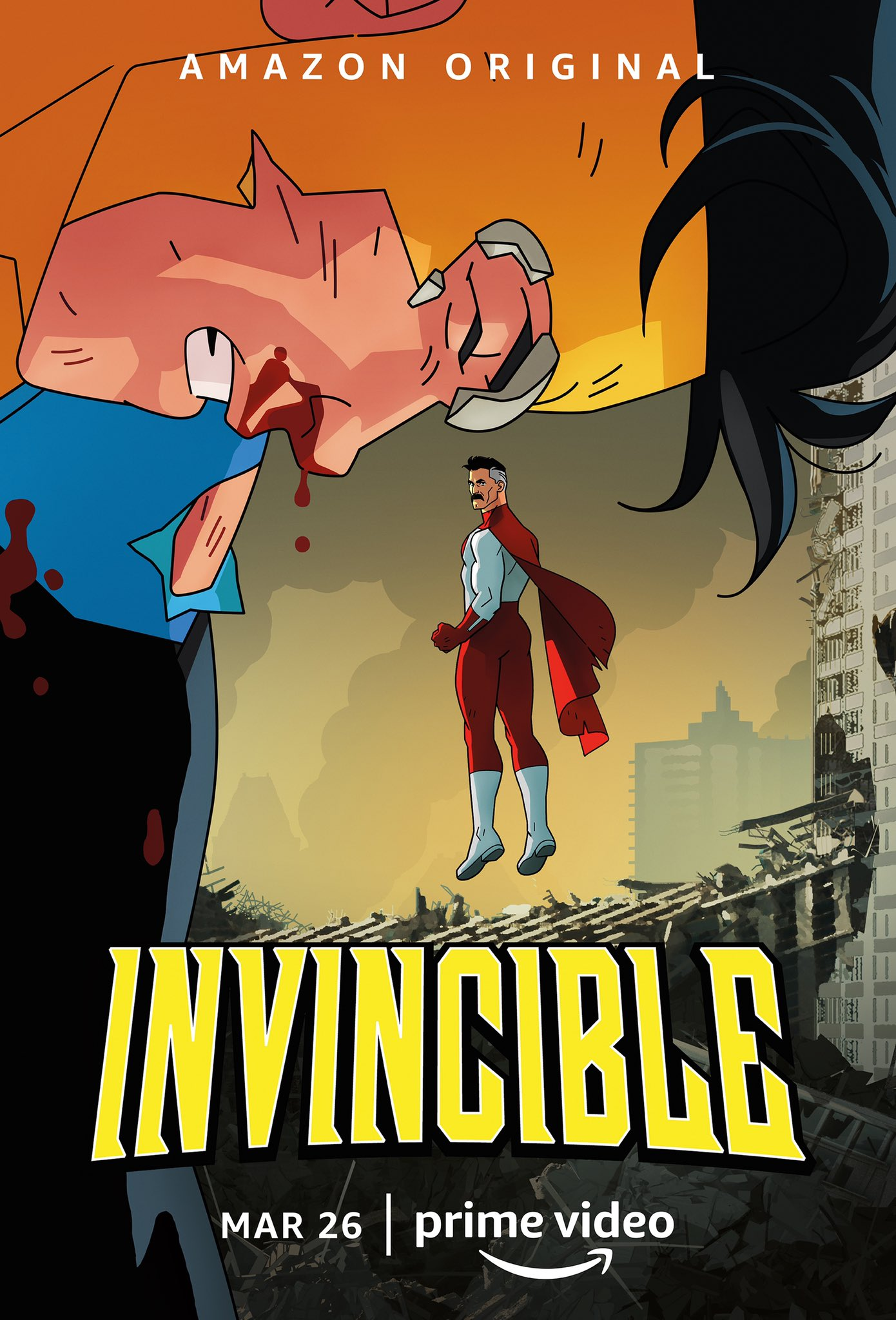 The official Invincible poster, featuring Mark and Nolan Grayson. Invincible appears to be kneeling with some blood on his face / mouth, and a ruined city around them