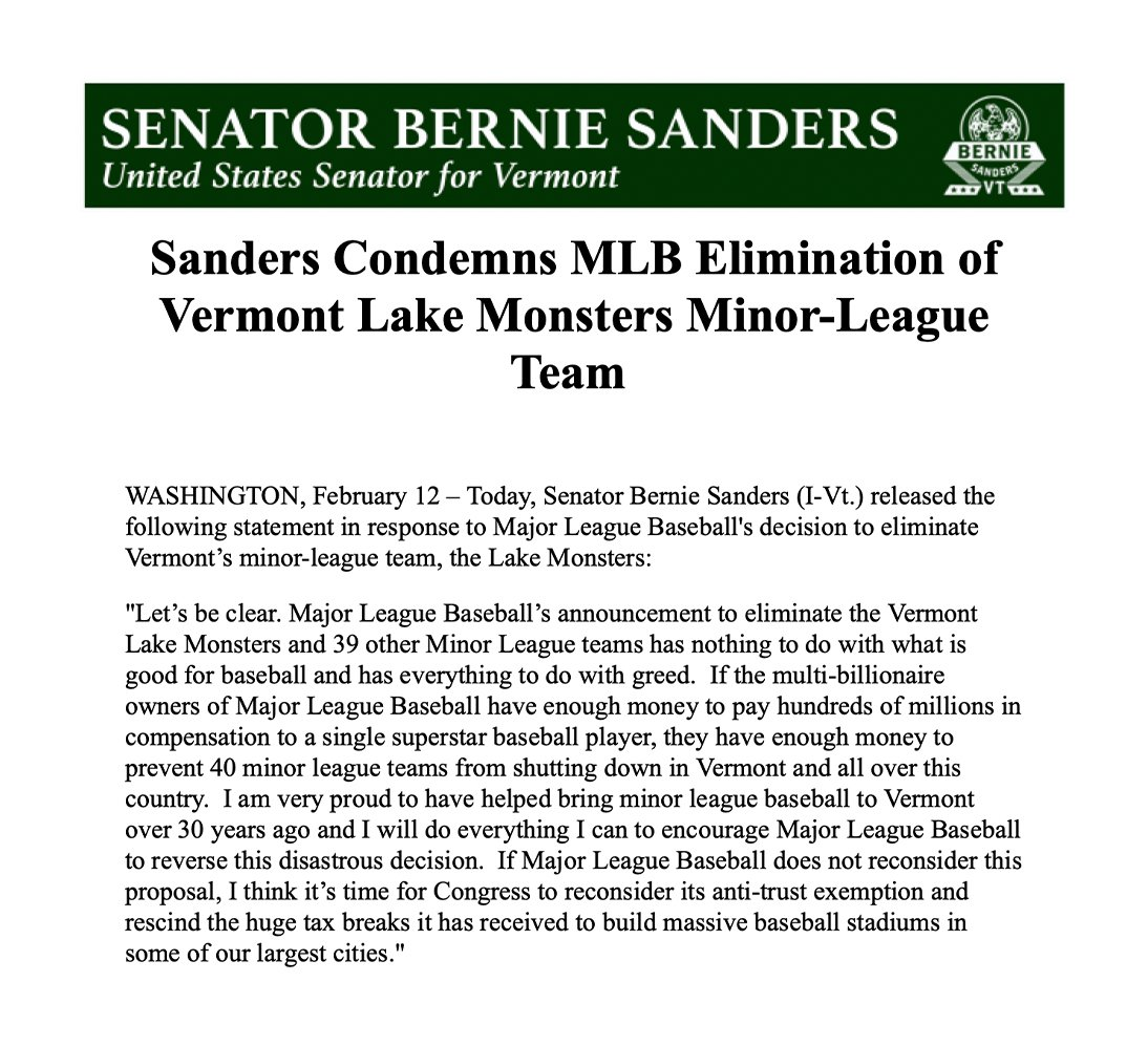 Major League Baseball's announcement to eliminate the Vermont Lake Monsters and 39 other Minor League teams has everything to do with greed.  If Major League Baseball does not reconsider this proposal, I think it's time for Congress to rescind the huge tax breaks it has received.