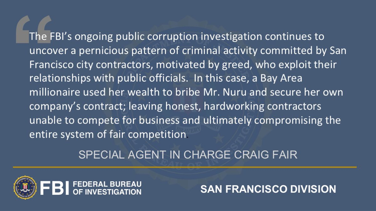 Update in the #FBI #SF ongoing public corruption investigation involving San Francisco city government justice.gov/usao-ndca/pr/p…