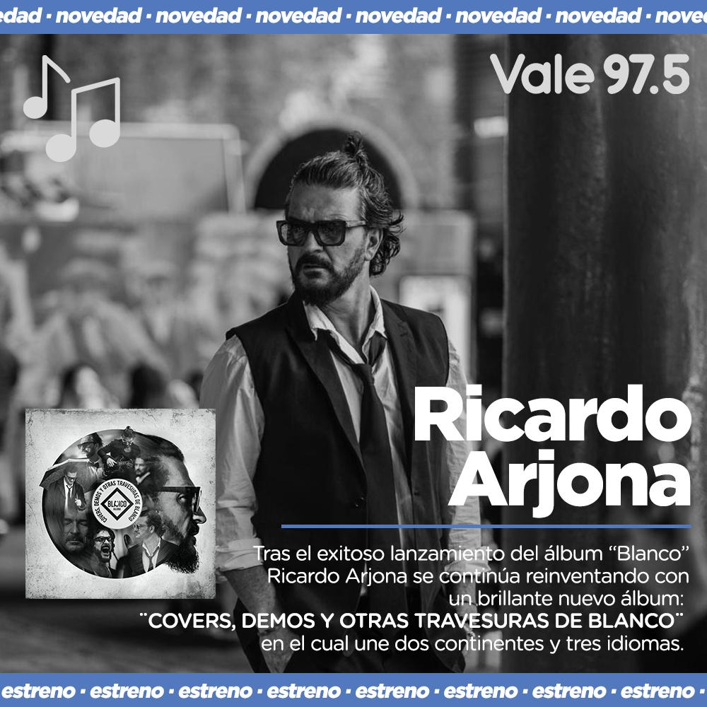 """💿 NOVEDAD 🔥 @Ricardo_Arjona  lanzó """" COVERS, DEMOS Y OTRAS TRAVESURAS DE BLANCO ❤️  Quedate en Vale 97.5, la radio que eligen tus artistas favoritos para presentar sus éxitos."""