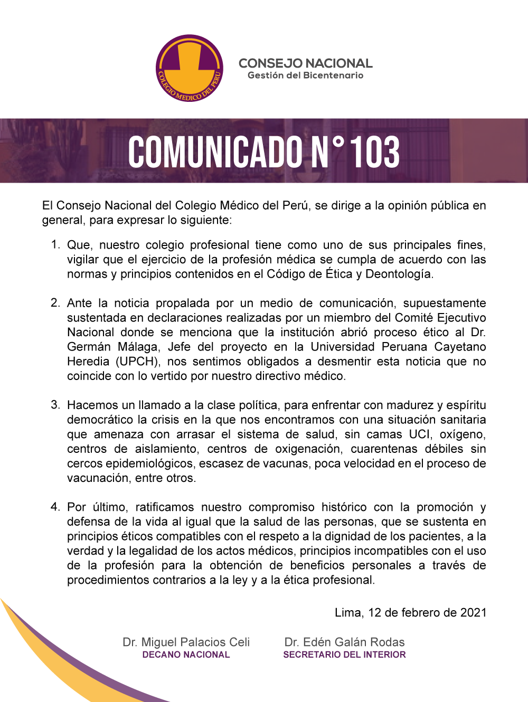 Colegio Médico desmintió que hayan abierto proceso ético contra Germán Málaga