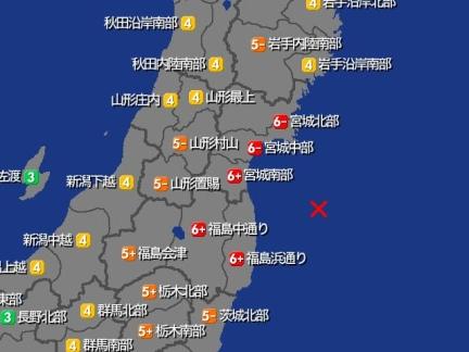 【東北沖で地震・震度6強】 13日午後11時8分ころ、福島県沖の深さ約60kmを震源とする地震がありました。 Mは7.1と推定。 津波の被害の心配はなし。 震度6強 宮城・南部 福島・中通り、浜通り 震度6弱 宮城・北部、中部 震度5強 福島・会津 栃木・北部、南部 #地震 #震度6強 #福島県沖