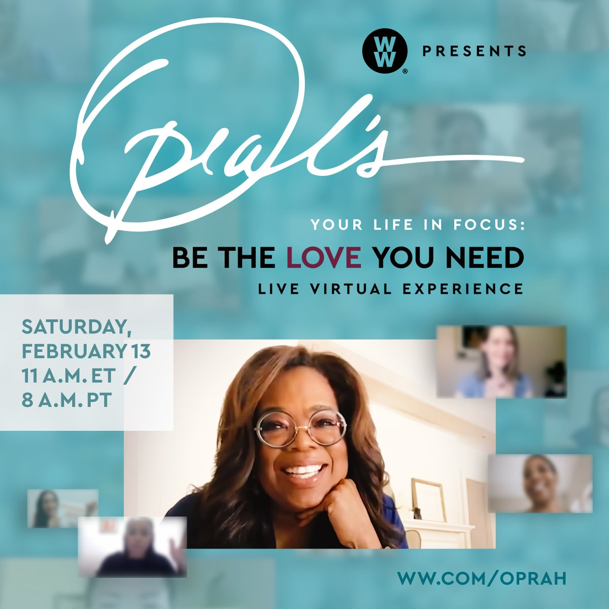 """It's happening! @Oprah is live with the """"Oprah's Your Life in Focus: Be the Love You Need – Live Virtual Experience!"""" We've got our workbooks and are ready to work on creating a stronger, healthier and connected  life!"""