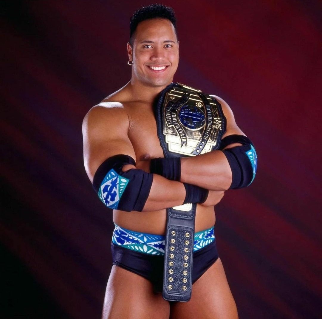 """90s WWE on Twitter: """"24 years ago today, Rocky Maivia defeated Hunter  Hearst Helmsley to win the Intercontinental Championship for the first  time. @TheRock… https://t.co/zwV4e3FUjc"""""""