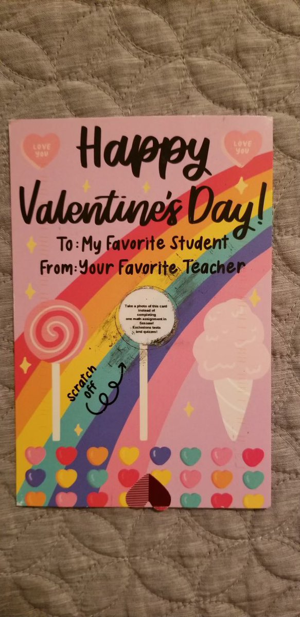 Ms. Savitsky sent this Valentine postcard to her students. I'm sure they were very excited to see what it says under the scratch off! Check it out! <a target='_blank' href='http://search.twitter.com/search?q=GlebeEagles'><a target='_blank' href='https://twitter.com/hashtag/GlebeEagles?src=hash'>#GlebeEagles</a></a> <a target='_blank' href='http://twitter.com/glebepta'>@glebepta</a> <a target='_blank' href='http://twitter.com/APSVirginia'>@APSVirginia</a> <a target='_blank' href='https://t.co/I5hBuaxCnj'>https://t.co/I5hBuaxCnj</a>