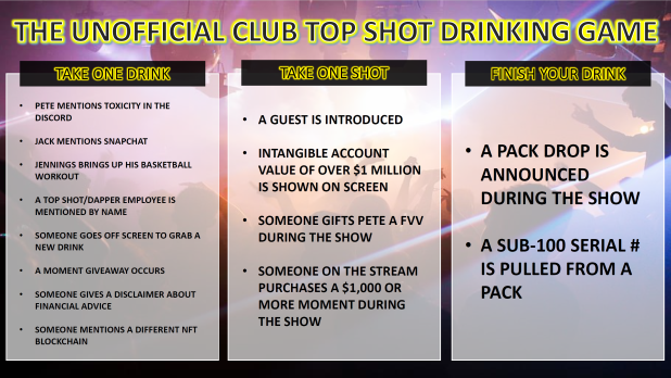 Pete Vanfleet On Twitter Mr Funhaus228 Has Created The Unofficial Club Top Shot Drinking Game Plz Note This Is Not Drinking Advice You Should Do Your Own Portion Control When Drinking