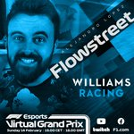 Can @GeorgeRussell63 do the double and be victorious again in Sunday's race? 🏆  This time around he will be joined by content creator @FlowstreetYT for @WilliamsRacing 🤜💥🤛  #VirtualGP 🎮 #F1