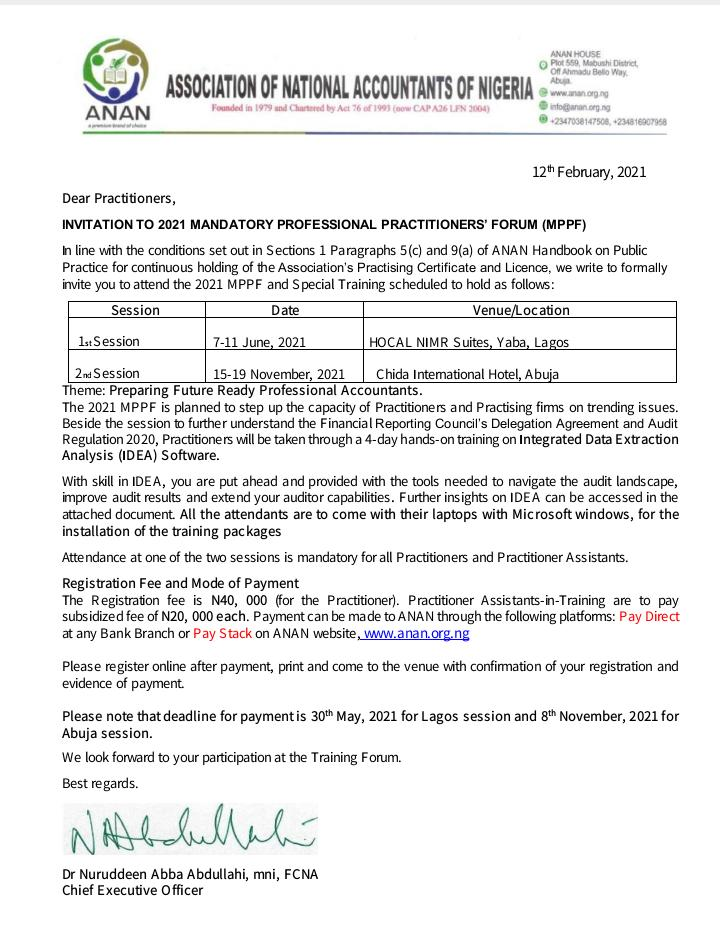ANAN Invitation to Mandatory Professional Practitioners' Forum