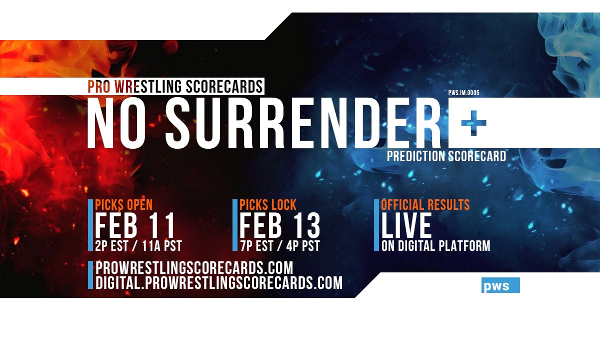 #PWS results for the Impact No Surrender  prediction scorecard will post to this thread at the conclusion of each match.  Use #PWSResults to join the conversation.  #IMPACTonAXSTV #NoSurrender