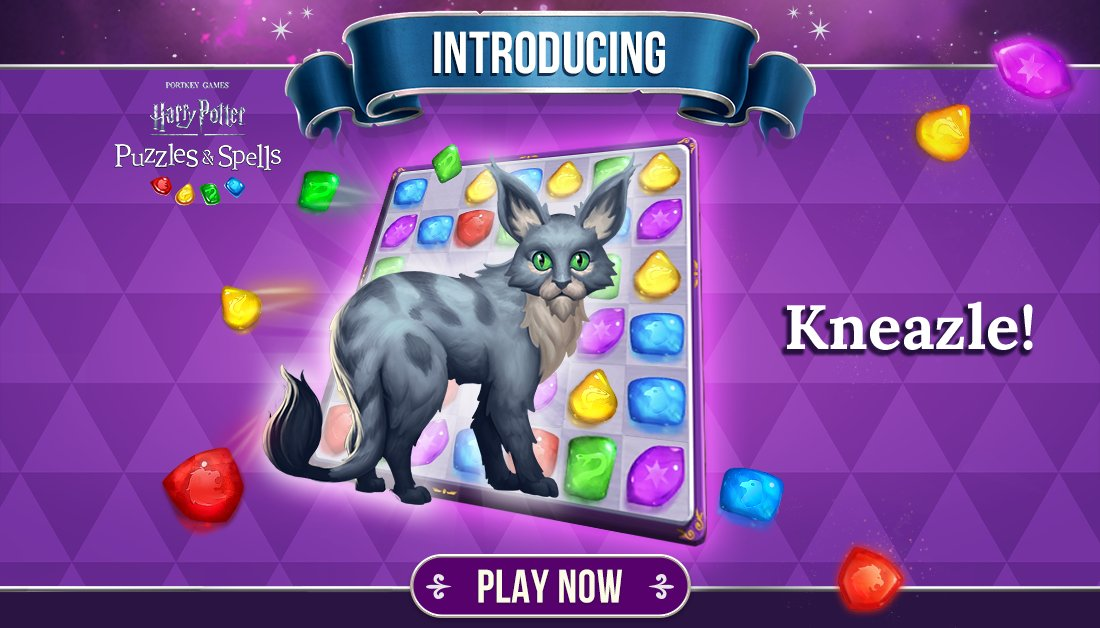 Introducing the magical creature Kneazle! For a limited time, complete the Magical Marvels album to unlock Kneazle. This magical creature will help you Match-3 to victory! Try to unlock Kneazle NOW ➡️  #HarryPotter #PuzzlesAndSpells #Kneazle #MagicalMarvels