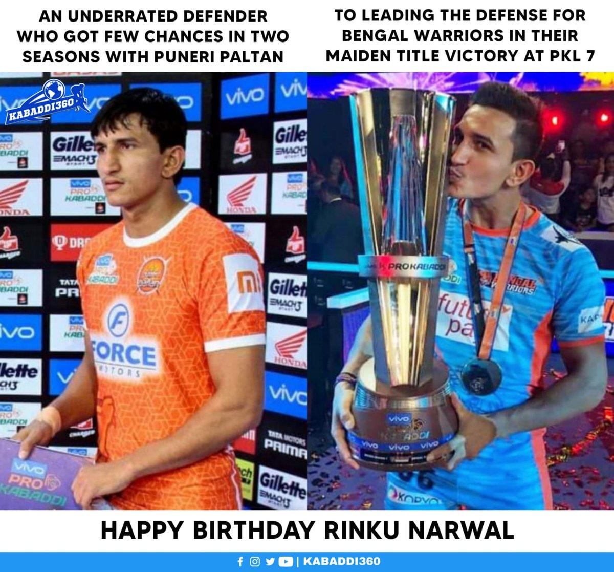 ✅ 6th best defender of PKL 7 with 64 tackle points & 4 High 5s  Happy birthday Rinku Narwal 🥳  #RinkuNarwal #HappyBirthday #Kabaddi360