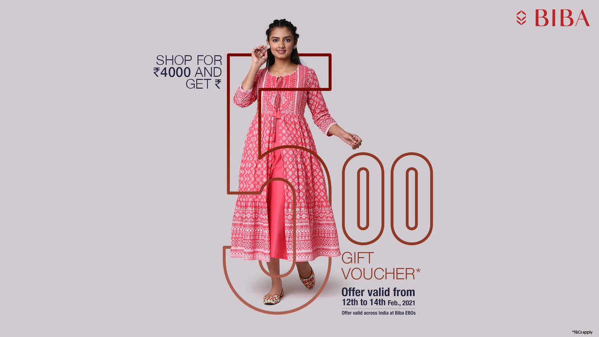 Hurry up! Call it a shopping date and make the most of it.  Shop at your nearest #Biba store* for Rs.4000 and get a Rs. 500 gift voucher.  *Offer valid across India at Biba stores.  #BibaIndia #SpringSummerCollection #Valentine #ValentinesDay #ValentineGift #VisitStore https://t.co/0bH4dUBCYB