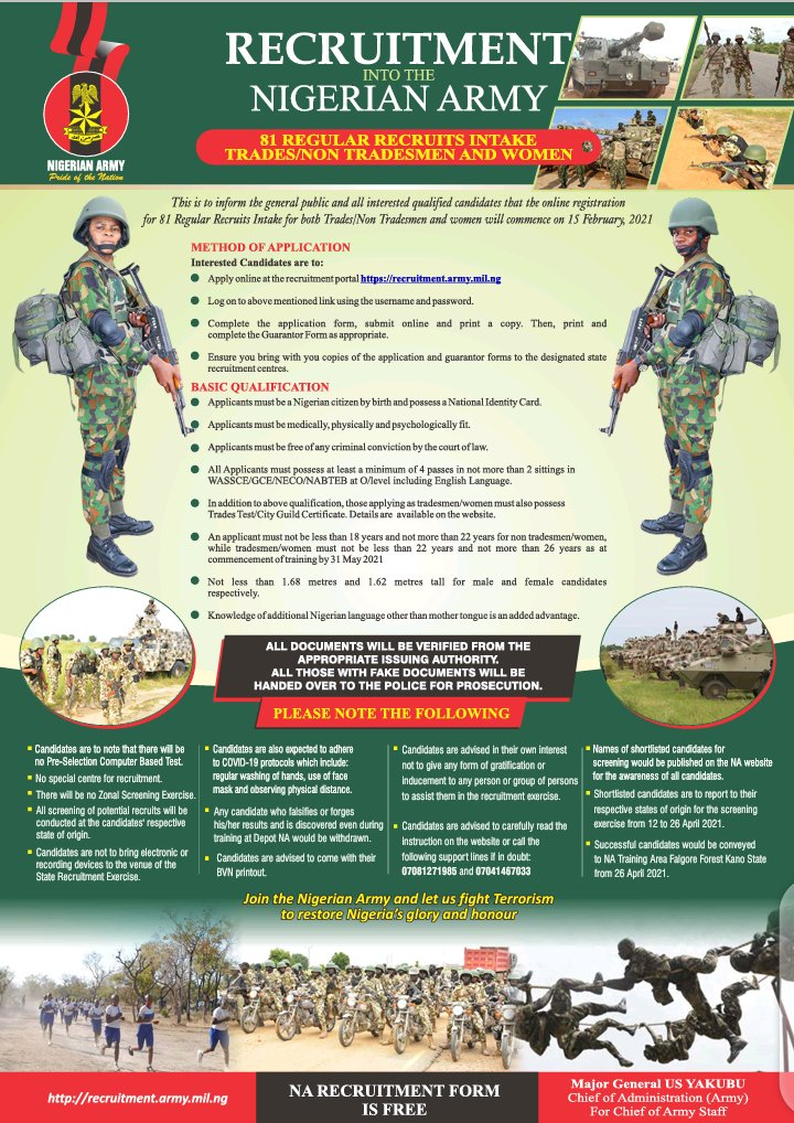 Nigerian Army Online Registration for 81 Regular Recruit Intake for Trades/Non Tradesmen