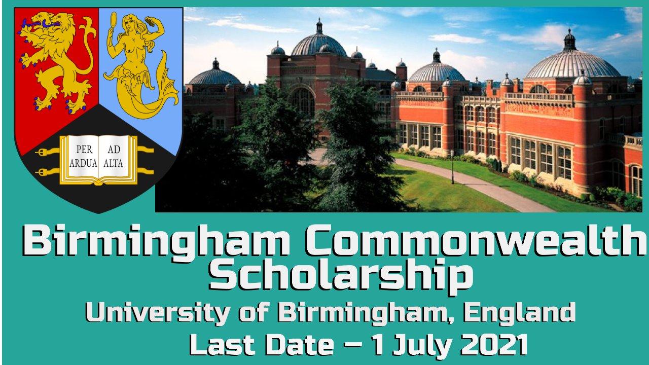Birmingham Commonwealth Scholarship, Birmingham, University, England