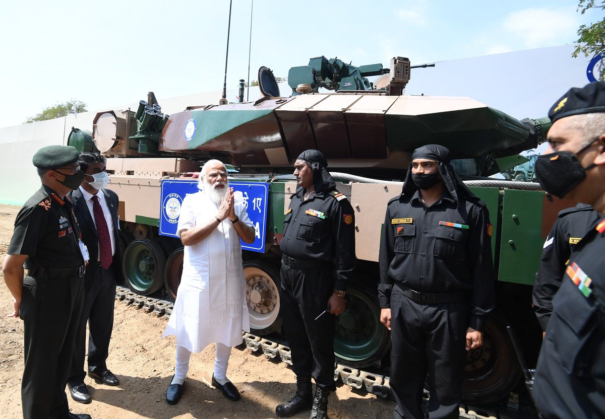 A special day in our journey to become Aatmanirbhar in the defence sector. Arjun Main Battle Tank (MK-1A) was handed over to the Army. A tank made in Tamil Nadu will protect our borders. This is a glimpse of Bharat's Ekta Darshan.