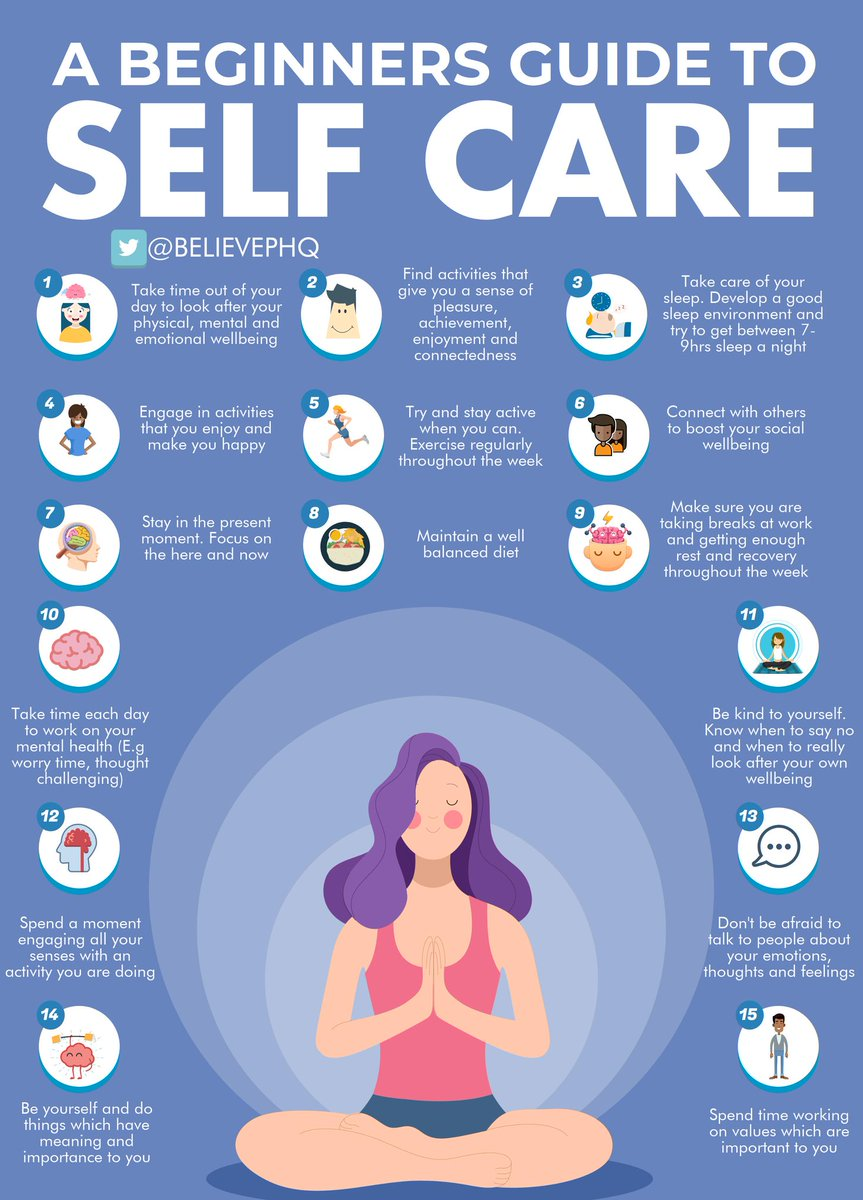 #Selfcare is not selfish. You need to prioritise your own wellbeing to be best placed to support your students. What are you doing this #halfterm to look after yourself? ❤️ #MentalHealthMatters  Image via @BelievePHQ https://t.co/KUFynOsRDX