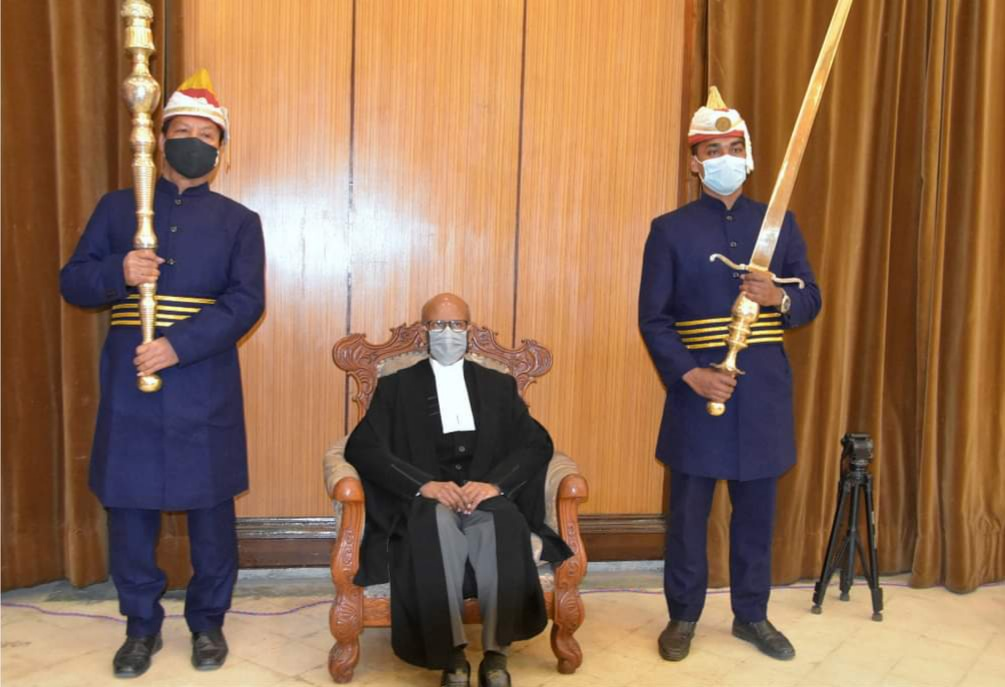 Honble CM attended the swearing-in-ceremony of Justice Shri PV Sanjay Kumar, Judge of the High Court of Punjab & Haryana as the Chief Justice of the High Court of Manipur at the Durbar Hall, Raj Bhavan.