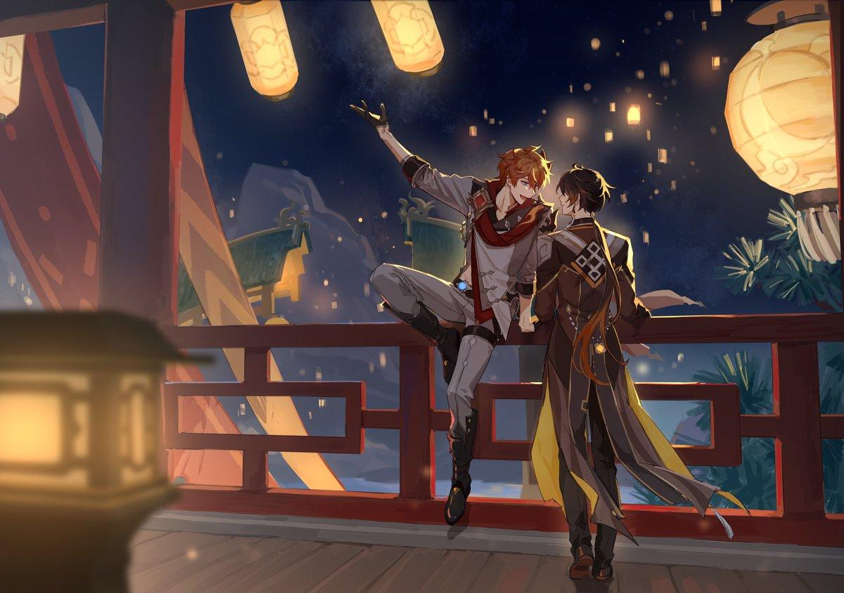 画太慢了所以情人节和春节一起过了  新年快乐~  #原神 #公钟 #タル鍾