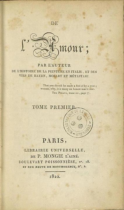 """Couverture de """"De l'Amour"""", Mongie, Paris, 1822 (Bibliothèque municipale de Grenoble)"""