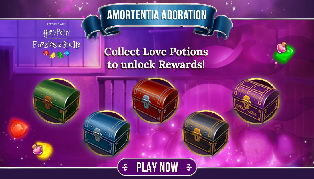 Collect Love Potions during #AmortentiaAdoration to open as many chests as you can while the event is active!  Collect Love Potions NOW ➡️   #HarryPotter #PuzzlesAndSpells #LovePotion #ValentinesDay