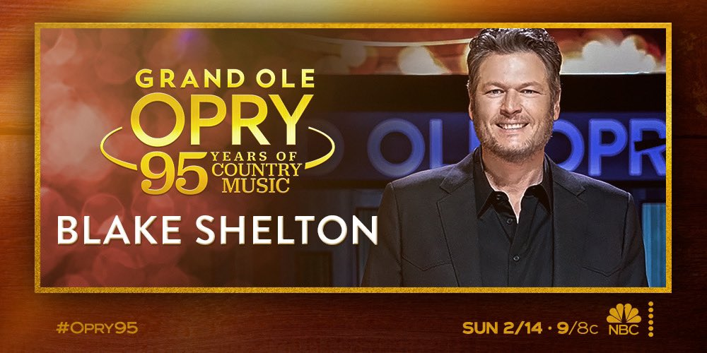 It's just about time to celebrate nearly a century of legendary country music with the @opry! Join Blake and @BradPaisley for #Opry95 — Tonight at 9/8c on @NBC. -Team BS