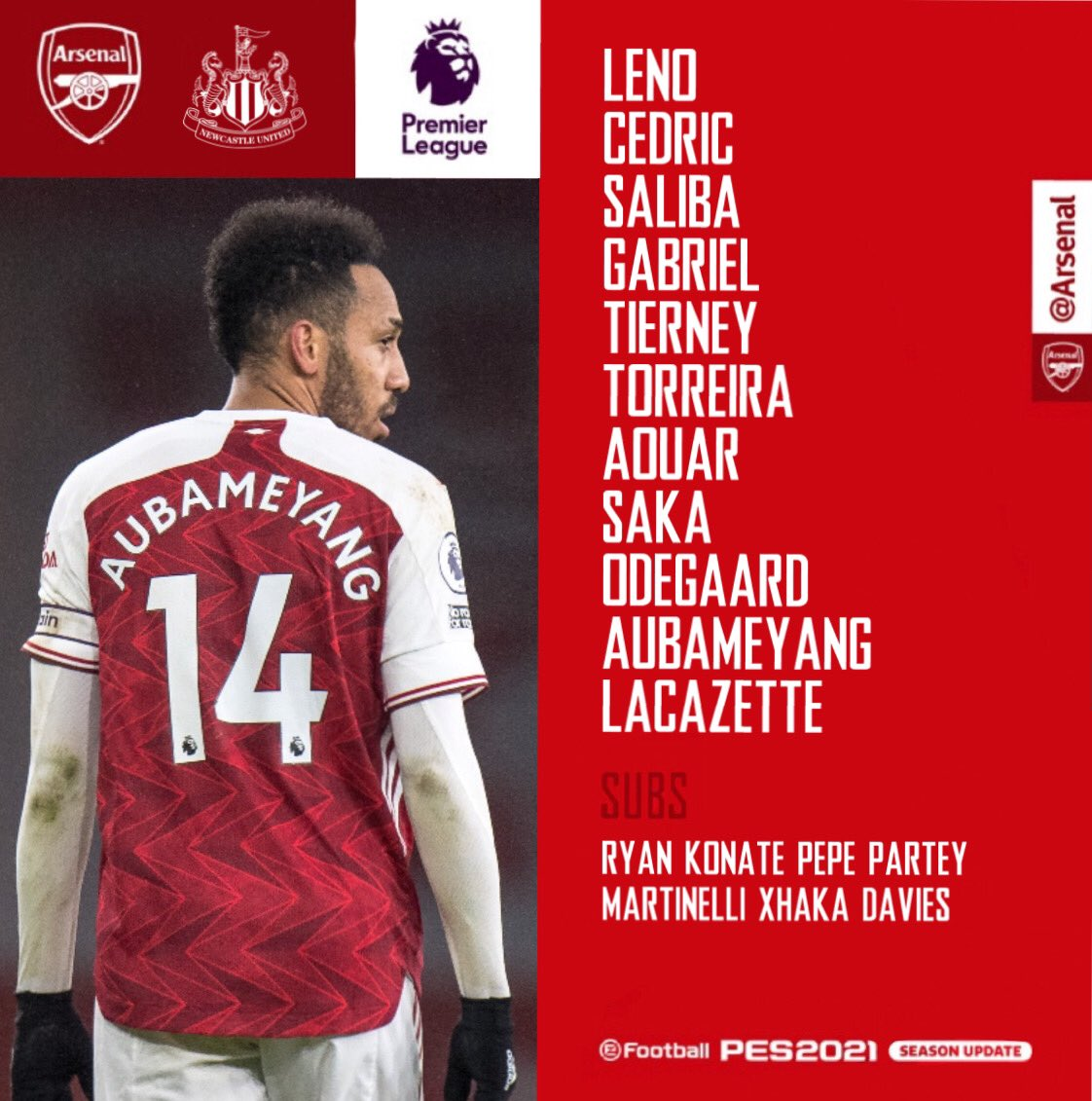 📋 Team news for today...  🇵🇹 Cedric fills in at fullback  🇫🇷 Lacazette starts up top 🇺🇾 Torreira partners Aouar in the midfield  #ARSNEW