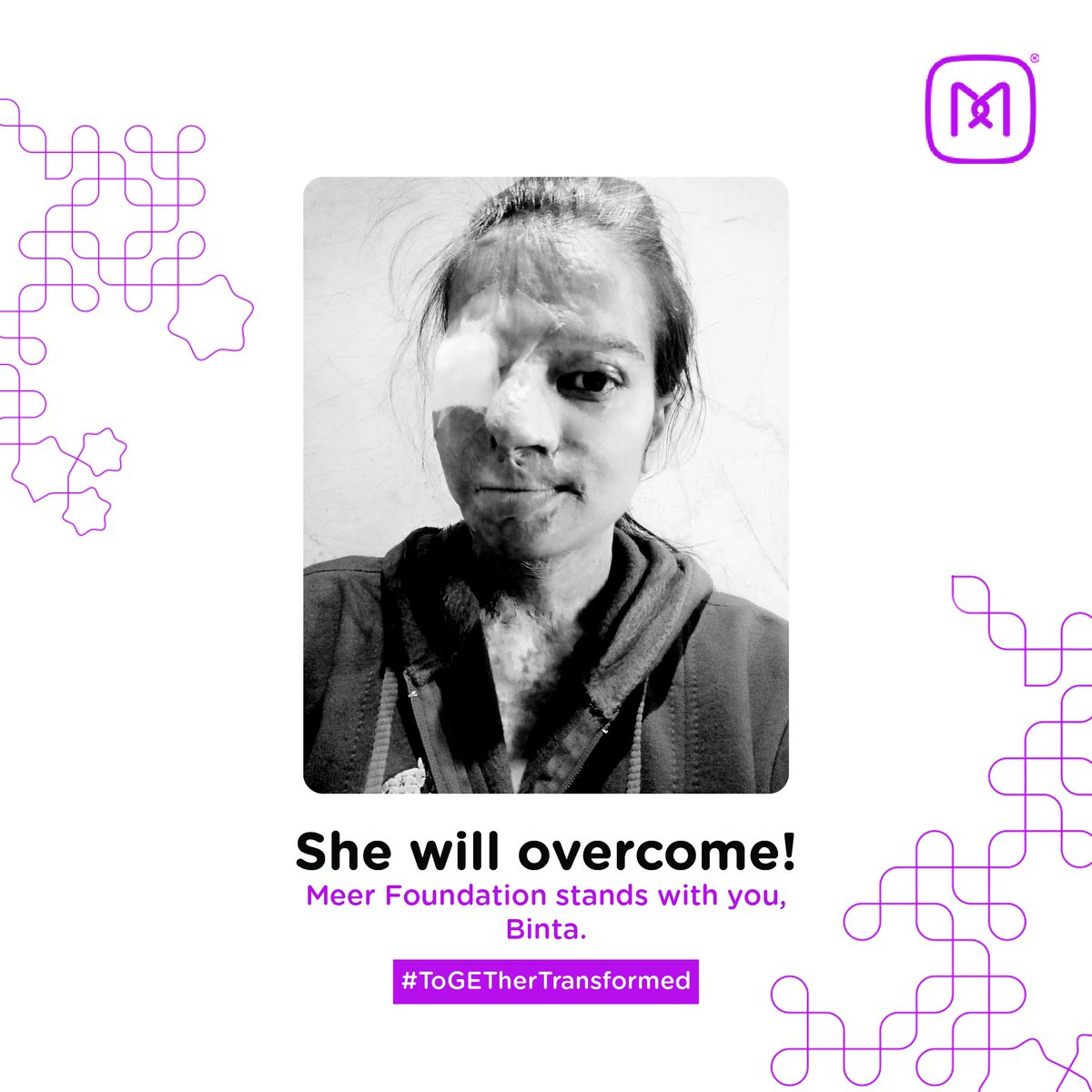 #BintaKamani hasn't stopped powering through her life. Courageously, she has pursued all her treatments. Her rehabilitative journey with #MeerFoundation #ToGETherTransformed has begun & she recently underwent a corrective surgery in January 2021. We wish her a speedy recovery.