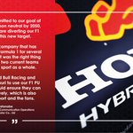 """""""Honda is pleased that, following our decision to leave Formula 1 at the end of 2021,  we have been able to reach an agreement for the two Red Bull-owned teams to use our F1 PU technology in F1 after 2021.""""  #PoweredByHonda"""